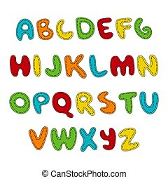 Hand written display colored font, Kid style. ABC. Stitched, patched, sewed, Decorative funny Vector alphabet and numbers.