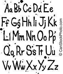 Hand written font alphabet. Vector