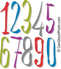 Hand written fresh vector numbers, stylish drawn numbers set.