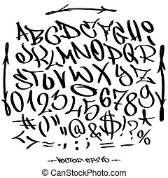 Hand written graffiti font alphabet. Vector set on white
