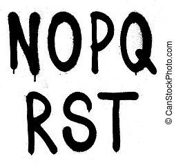 Hand written graffiti font type alphabet. Vector (part 3)