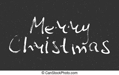 Hand written inscription Merry Christmas.