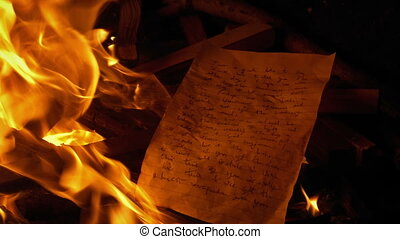 Hand Written Letter Put On Fire - Generic Content - Generic...