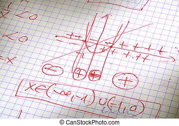 hand written maths calculations in red