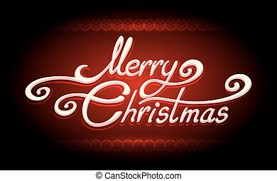 Hand-written Merry Christmas Lettering on Red background