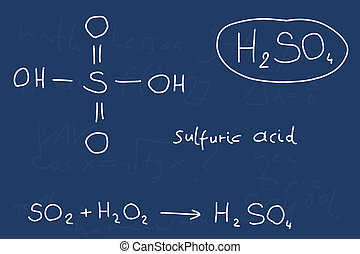 Hand written scribble illustration - inorganic chemistry lesson. Sulfuric acid, inorganic mineral acid compound - molecule structure.