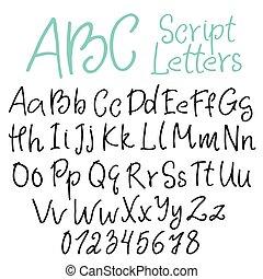 Hand-written script letters
