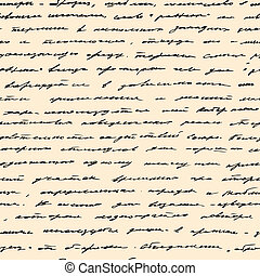 Hand written text. Vector seamless background - Vintage hand...