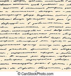 Hand written text. Vector seamless background - Vintage hand...