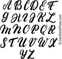 Hand written upper case alphabet.