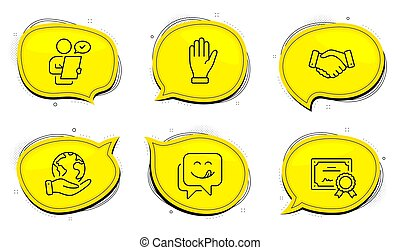 Hand, Yummy smile and Customer survey icons set. Employees handshake sign. Waving palm, Emoticon, Contract. Vector