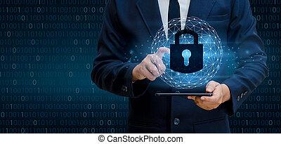 hand, zakenman, de pers, slot, binaire code, cyber, veiligheid, concept.communication, wereld