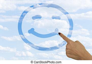 hand, zeichnung, a, smiley gesicht, auf, a, nebel