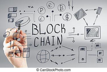 hand, zeichnung, blockchain, gekritzel
