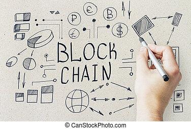 hand, zeichnung, blockchain, skizze