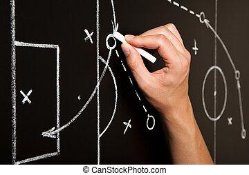 hand, zeichnung, fußballspiel, taktiken