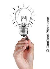 hand, zeichnung, glühlampe