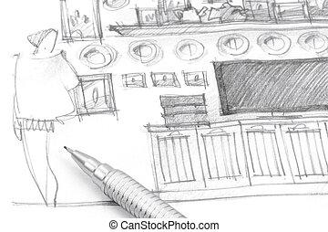 bleistift closeup schalfzimmer monochrom zeichnung stockfoto fotografien und clipart. Black Bedroom Furniture Sets. Home Design Ideas