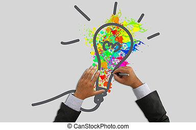 hand, zeichnung, licht, bulb.idea, begriff