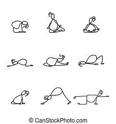 hand, zeichnung, linie, karikatur, joga, für, schwangerschaft