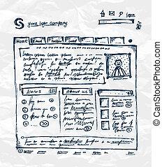 hand, zeichnung, schablone, von, website, auf, papier, blatt