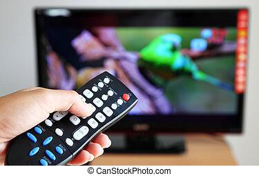 hand, zeigt, a, fernsehapparat fernbedienung, gegen, der,...