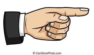 hand, zeigt
