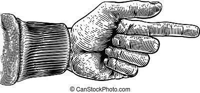 hand, zeigt, richtung, stich, finger, holzschnitt