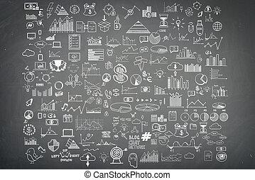 hand, ziehen, gekritzel, elemente, geld, und, muenze, ikone, tabelle, grap, auf, blackboard., begriff, bank, geschäftsfinanz, analytics, einkommen