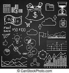 hand, ziehen, gekritzel, elemente, geld, und, muenze, ikone, tabelle, graph., begriff, bank, geschäftsfinanz, analytics, einkommen
