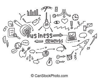 hand, ziehen, gekritzel, elemente, geld, und, muenze, ikone, tabelle, graph., begriff, geschäftsfinanz, analytics, earnings., vektor, illustration.
