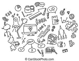 hand, ziehen, gekritzel, elemente, geld, und, muenze, ikone, tabelle, graph., begriff, geschäftsfinanz, analytics, earnings., vektor, abbildung