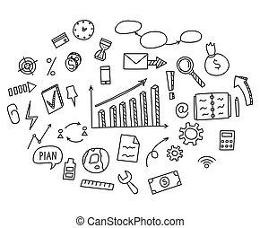 hand, ziehen, gekritzel, elemente, geld, und, muenze, ikone, tabelle, graph., begriff, geschäftsfinanz, earnings., vektor, abbildung