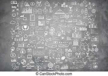hand, ziehen, gekritzel, elemente, geld, und, muenze, ikone, tabelle, schaubild, auf, graue , beton, wall., begriff, bank, geschäftsfinanz, analytics, einkommen