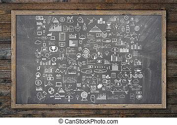 hand, ziehen, gekritzel, elemente, geld, und, muenze, ikone, tabelle, schaubild, auf, tafel, oder, chalkboard., begriff, bank, geschäftsfinanz, analytics, einkommen