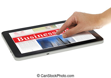 Hand zooming in digital news on tablet computer, isolated