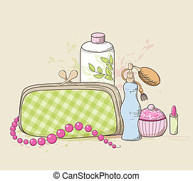 Vector background with green handbag and cosmetics