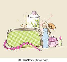 Handbag and cosmetics - Vector background with green handbag...