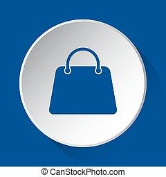 handbag, bag - simple blue icon on white button