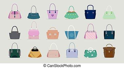 handbag - Handbag women vector has a gray background.