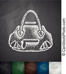 handbag icon. Hand drawn vector illustration. Chalkboard...
