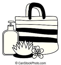 handbag lotion bottle flower
