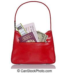 Handbag Passport tickets and money isolated on white. -...