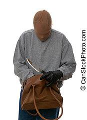 handbag., por, buscando, asaltador