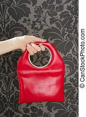handbag retro vintage fashion red bag on gray wallpaper ...