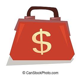 Handbag with dollar sign vector illustration.