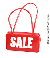 handbag with red sale sign