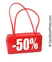 handbag with sale sign