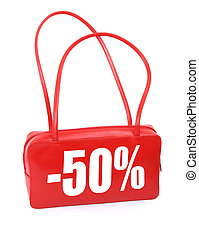 handbag with sale sign