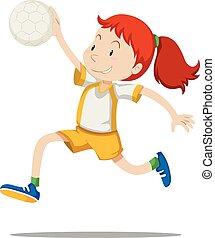 handbal, atleet, vrouw, spelend